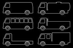 Reeks silhouetten de ladingsvrachtwagens Stock Afbeelding