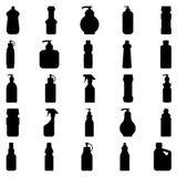 Reeks silhouetten van containers en flessenhuishoudenchemische producten Stock Foto's