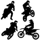 Reeks silhouetten van de fietsermotocross, Vectorillustratie royalty-vrije illustratie