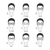 Reeks silhouetten van diverse types van schouwspeloogglazen Stock Afbeelding