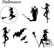 Reeks silhouetten van Halloween Royalty-vrije Stock Afbeelding