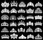 reeks silhouetten van oude kronen, tiara's, tiara vector illustratie