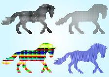 Reeks silhouetten van paardvierkanten, cirkels, golven Stock Fotografie