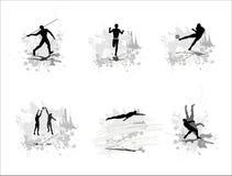 Reeks silhouetten van sportmannen vector illustratie