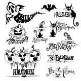 Reeks silhouetten voor Halloween-partij stock foto