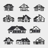 Reeks single-storey huizen royalty-vrije illustratie