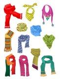 Reeks sjaals voor meisjes Royalty-vrije Stock Afbeelding