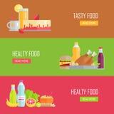 Reeks Smakelijke en Gezonde Banners van het Voedsel Vectorweb Stock Afbeelding