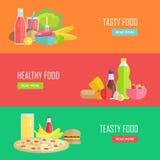 Reeks Smakelijke en Gezonde Banners van het Voedsel Vectorweb Royalty-vrije Stock Afbeelding