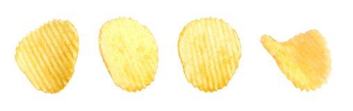 Reeks smakelijke geribbelde chips stock foto