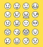 Reeks smileypictogrammen met verschillende gezichtsuitdrukking Stock Foto