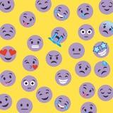 Reeks smileypictogrammen met verschillende gezichtsuitdrukking Stock Afbeelding