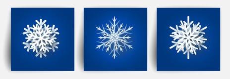 Reeks sneeuwvlokken van Kerstmis Het document sneed 3d ontwerpelementen Het Kerstmisdocument sneed sneeuwvlok Vector illustratie  stock illustratie