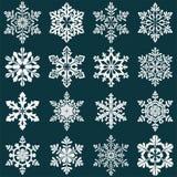 Reeks sneeuwvloksilhouetten De Decoratie van het nieuwjaar Stock Afbeeldingen