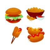 Reeks snel voedselmaaltijd De snackpictogrammen van het inzamelingsbeeldverhaal Stock Afbeeldingen