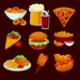 Reeks snel voedselmaaltijd De snackpictogrammen van het inzamelingsbeeldverhaal Royalty-vrije Stock Fotografie
