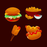 Reeks snel voedselmaaltijd De snackpictogrammen van het inzamelingsbeeldverhaal Stock Afbeelding