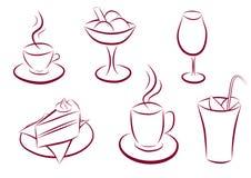 Reeks snoepje en koffiepictogrammen Stock Afbeeldingen