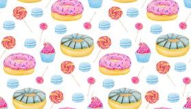 Reeks snoepjes met donuts, suikergoed, capcake, lolly, makarons en kop van koffie op witte achtergrond Kleurrijk waterverfpatroon Stock Afbeeldingen