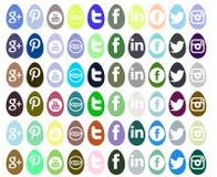Reeks sociale die netwerkenpictogrammen voor Pasen wordt geïsoleerd Royalty-vrije Stock Foto