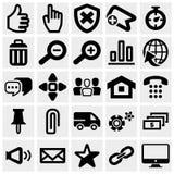 Reeks sociale media vectordiepictogrammen op grijs worden geplaatst. Stock Afbeelding