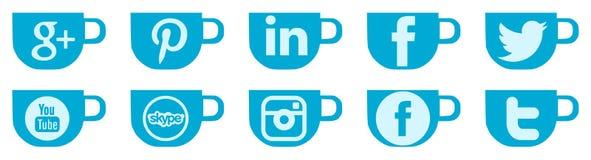 Reeks sociale netwerkenpictogrammen op coffekop Stock Afbeelding
