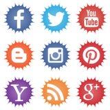 Reeks sociale pictogrammen op witte achtergrond Stock Afbeelding