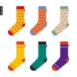 Reeks sokken met flitspatroon Stock Foto