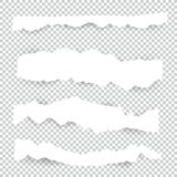 Reeks spatie Gescheurde document bladen De vectorinzameling van notastukken met kleverige band stock illustratie