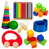 Reeks speelgoed. Geïsoleerd met het knippen van weg Royalty-vrije Stock Foto