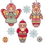 Reeks speelgoed van kleurenkerstmis De decoratie van de vakantie Stock Foto