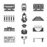 Reeks spoorweg zwarte pictogrammen vector illustratie