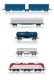 Reeks spoorwegauto's met elektrische locomotief Stock Foto