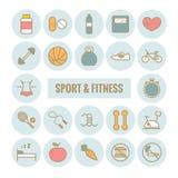 Reeks sport en fitness vectoroverzichtspictogrammen Stock Afbeeldingen