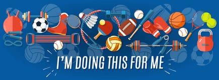 Reeks sportballen en gokkenpunten bij een blauwe achtergrond Gezonde levensstijlhulpmiddelen, elementen Vector illustratie Stock Foto's