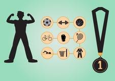 Reeks sportpictogrammen in vlak ontwerp, illustraties Stock Foto