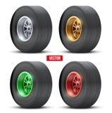 Reeks sportwagen kleurrijke wielen Vector Royalty-vrije Stock Foto