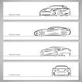 Reeks sportwagen vectorsilhouetten, overzichten, contouren Royalty-vrije Stock Fotografie
