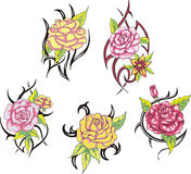 Reeks stammen roze bloemtatoegeringen Stock Foto