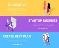 Reeks start van de Bedrijfs de Creatieve Plan Kleurrijke Banner stock illustratie