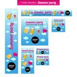 Reeks statische banners met het thema van de de zomerpartij Stock Afbeeldingen