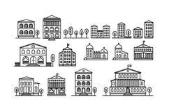 Reeks stedelijke en in de voorsteden huizenpictogrammen Vector illustratie vector illustratie