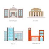 Reeks stedelijke gebouwen in een vlakke stijl De overheidsbouw, theater, politie en brandweerkazerne Vector, illustratie Royalty-vrije Stock Foto