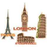 Reeks stedensymbolen Stock Foto's