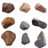 Reeks stenen op witte achtergrond wordt geïsoleerd die Royalty-vrije Stock Afbeeldingen