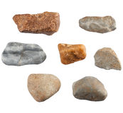 Reeks stenen op witte achtergrond wordt geïsoleerd die Royalty-vrije Stock Foto's