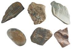 Reeks stenen op witte achtergrond wordt geïsoleerd die Royalty-vrije Stock Fotografie