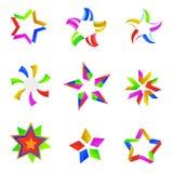 Kleurrijke sterpictogrammen Stock Afbeeldingen