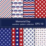 Reeks sterren en strepen naadloze patronen Van de de Onafhankelijkheidsdag van de V.S. de feestelijke vector herhaalbare die text stock illustratie