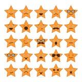 Reeks sterren met verschillende emoties, gelukkige, droevige, het glimlachen pictogrammen Royalty-vrije Stock Afbeelding